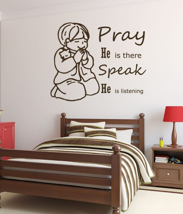 Christian Wall Decals - Little Boy Praying, Pray He is there Speak He is listening