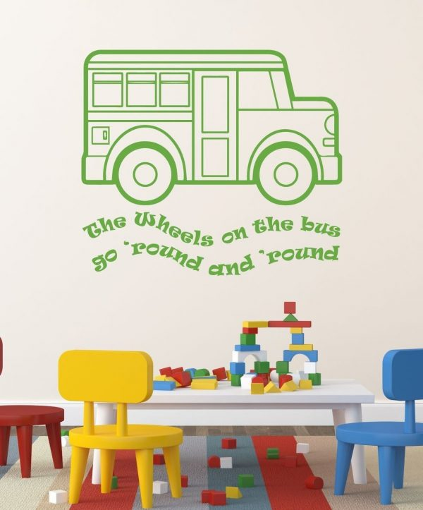 Nursery Rhyme Wall Decals - The Wheels on the Bus Song