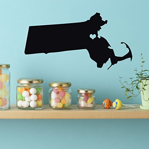 Massachusetts State Vinyl Wall Decal - Map Silhouette Decoration With Heart