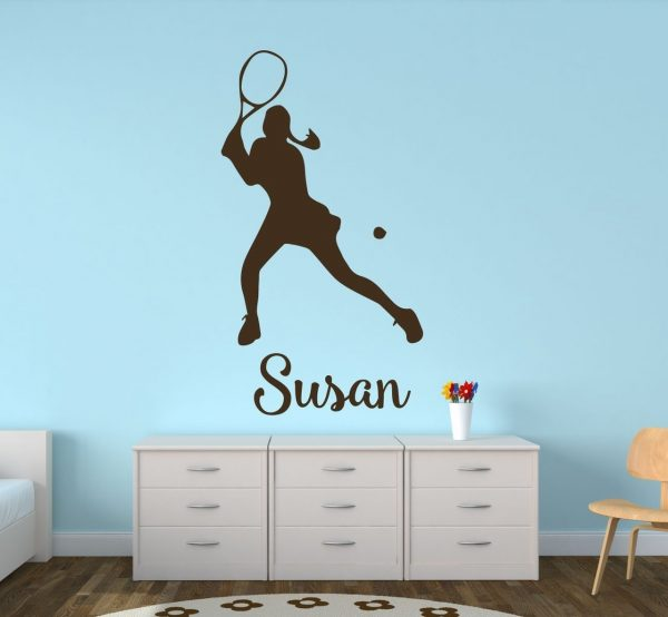 Tennis Wall Decals - Personalized Female Tennis Player (Long Hair)