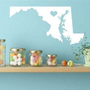 Maryland State Vinyl Wall Decal - Map Silhouette Decoration With Heart