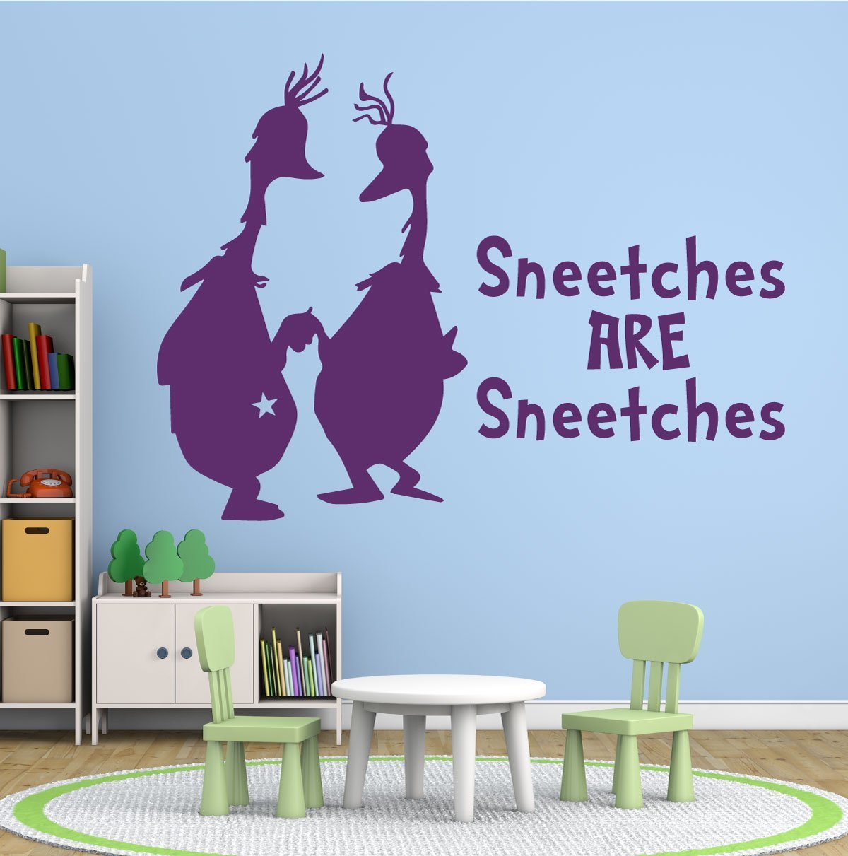 Dr seuss wall decals sneetches are sneetches for Kitchen colors with white cabinets with dr seuss wall art decor