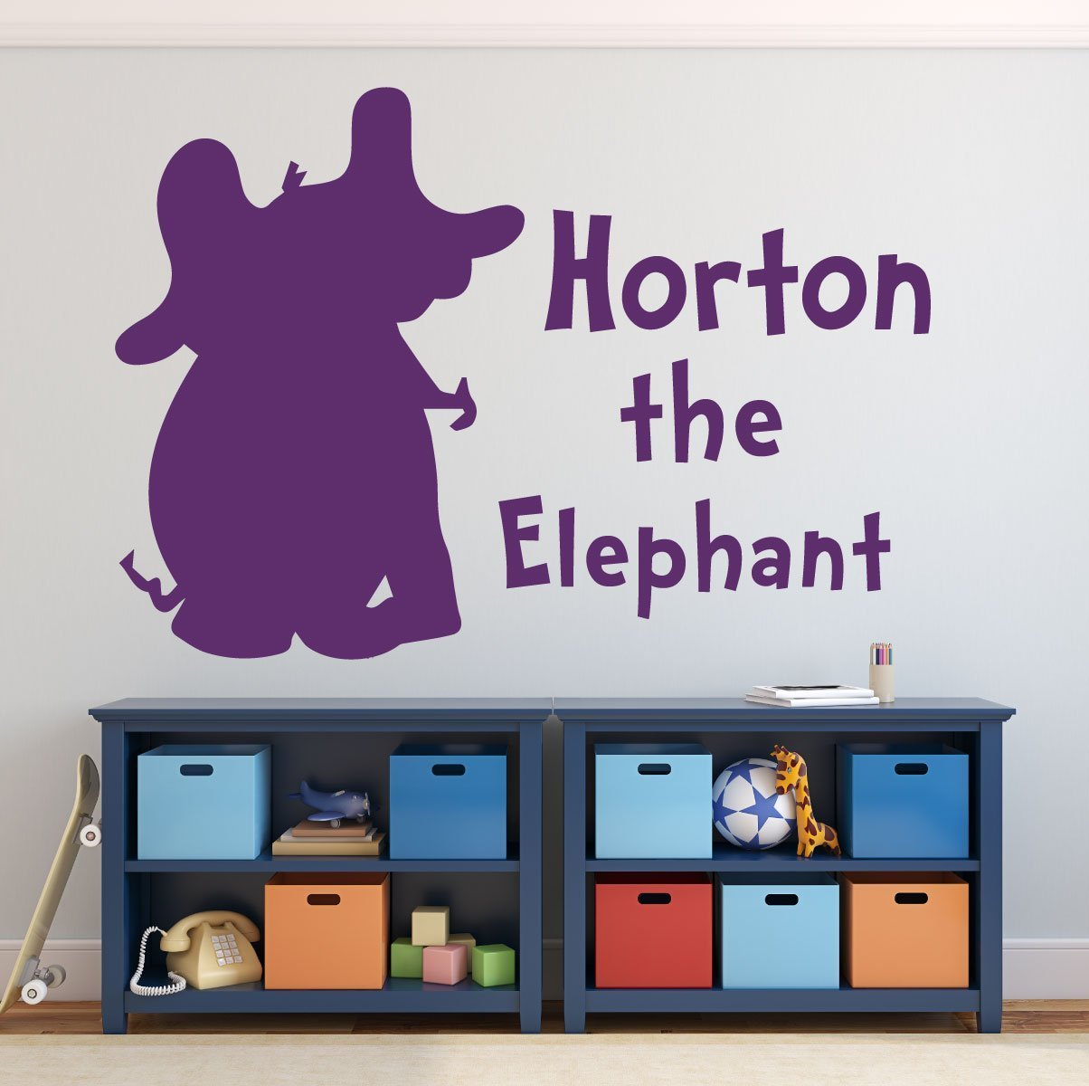 Dr seuss wall decals horton the elephant for Kitchen colors with white cabinets with dr seuss wall art decor