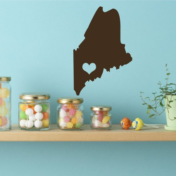 Maine State Vinyl Wall Decal - Map Silhouette Vinyl Wall Decoration With Heart