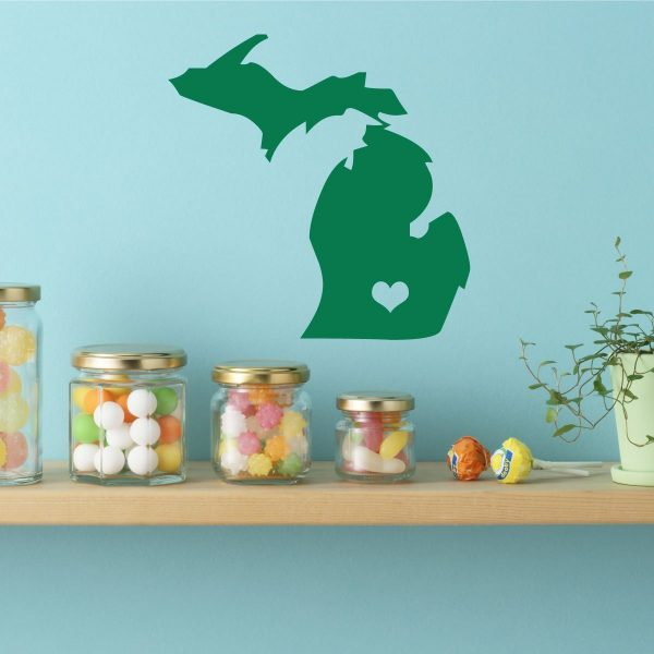 Michigan State Vinyl Wall Decal - Map Silhouette Vinyl Wall Decoration With Heart