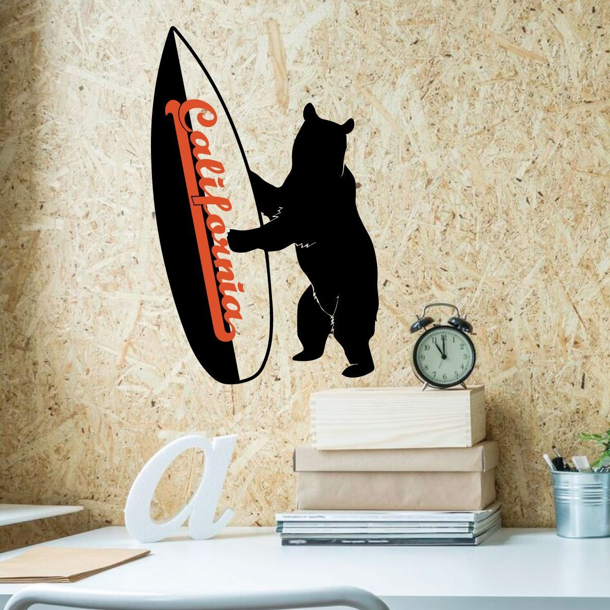 California Bear Surf Decal - Vinyl Wall Art