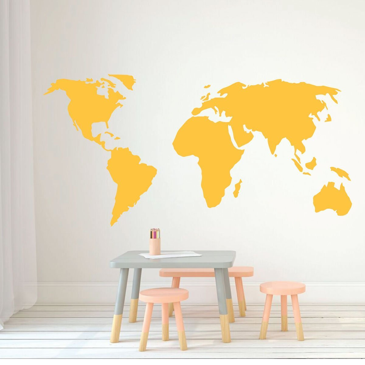 World Map Wall Art . Classroom Decorations - CustomVinylDecor.com