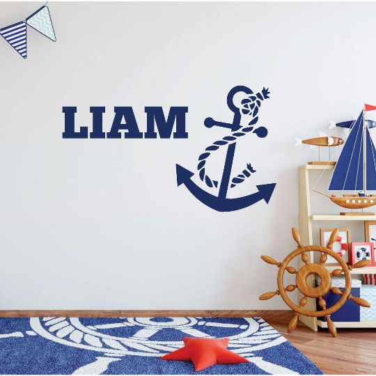 Anchor Wall Decal Vinyl Sticker - Personalized Nautical Wall Decor