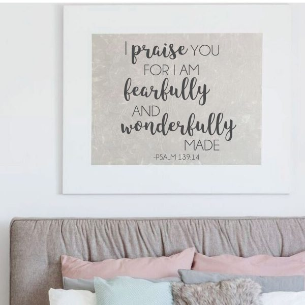 Bible Verse Wall Decal - Psalms 139:14 - I Praise You For I'm Fearful