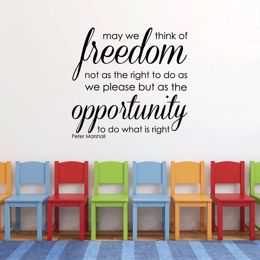 Patriotic Decals - May We Think of Freedom - Peter Marshall Quote