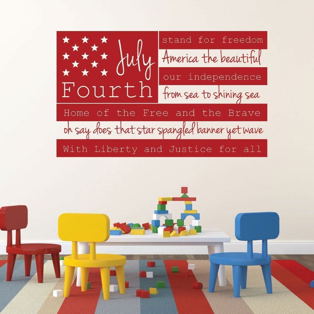 Patriotic Decals - USA Wall Decal - Fourth of July American Flag Wall Art With Quote