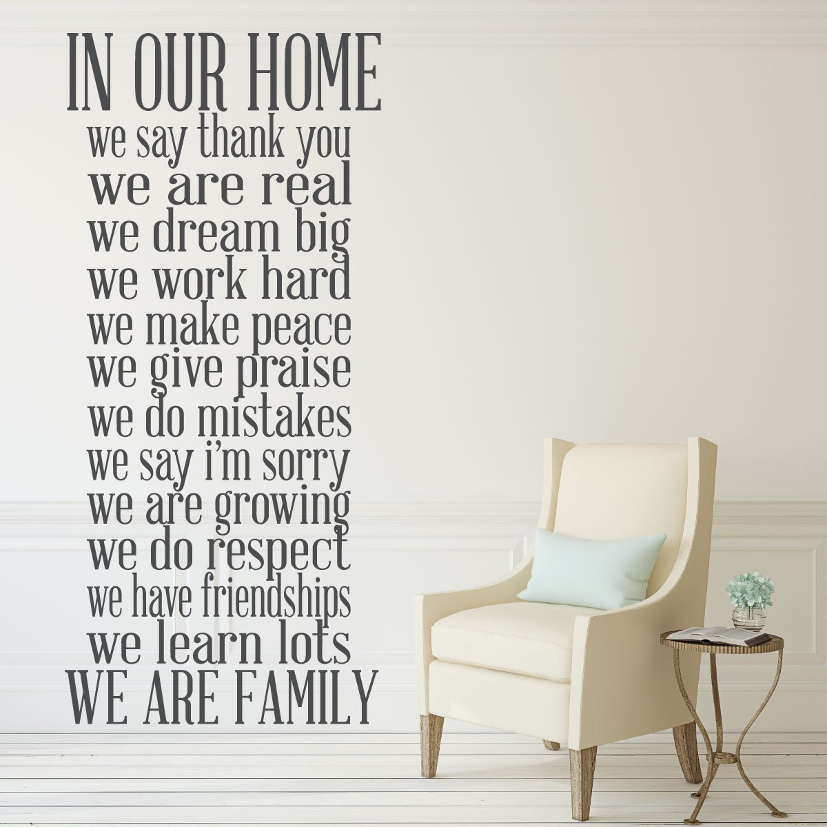 Family Wall Decor - In Our Home We Say Thank You, We Are Real, We Dream Big