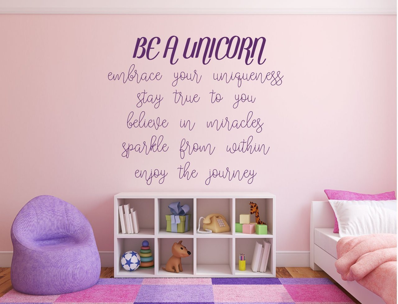 Unicorn Wall Decor - Be A Unicorn Embrace Your Uniqueness Stay True To You Believe In Miracles