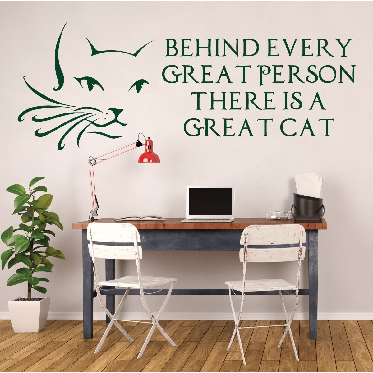 Cat Wall Decals - Cat Lover Gifts - Cat Face with Whiskers - Behind Every Great Person There Is A Cat