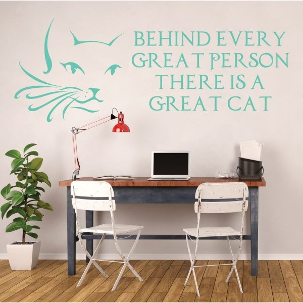 Cat Wall Decals - Cat Face - Cat Lover Gifts, Kids Playroom Vinyl Wall Decor