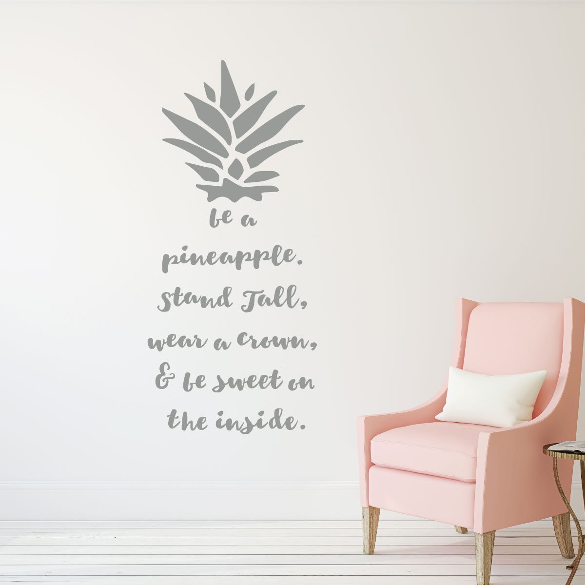 Be A Pineapple Wall Decal -Removable Sticker - with Hawaiian Tropical Pineapple Design - Pineapple Decor -Teen Girl Bedroom Decor, Vinyl Art