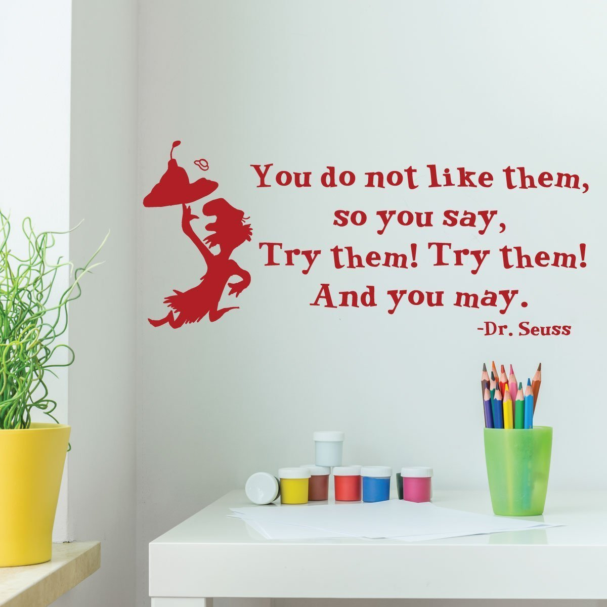 Dr. Seuss Wall Decor- Green Eggs And Hams- You Do Not Like Them, So You Say, Try Them! Try Them! And You May, Playroom Child Bedroom Nursery