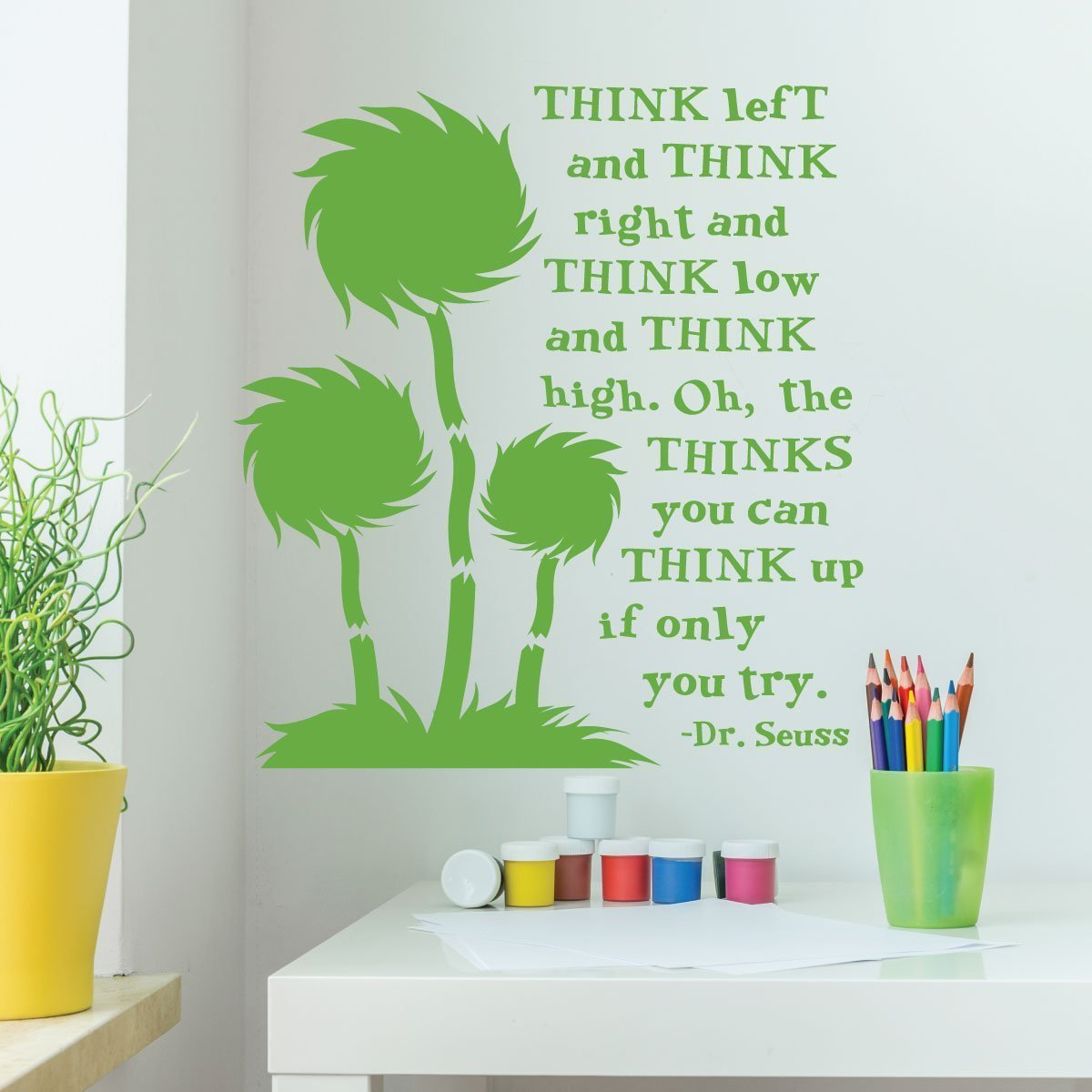 Dr. Seuss Wall Decor for Classrooms-Think Left And Think Right And Think Low and Think High-Playroom Child Bedroom Nursery Party Decoration