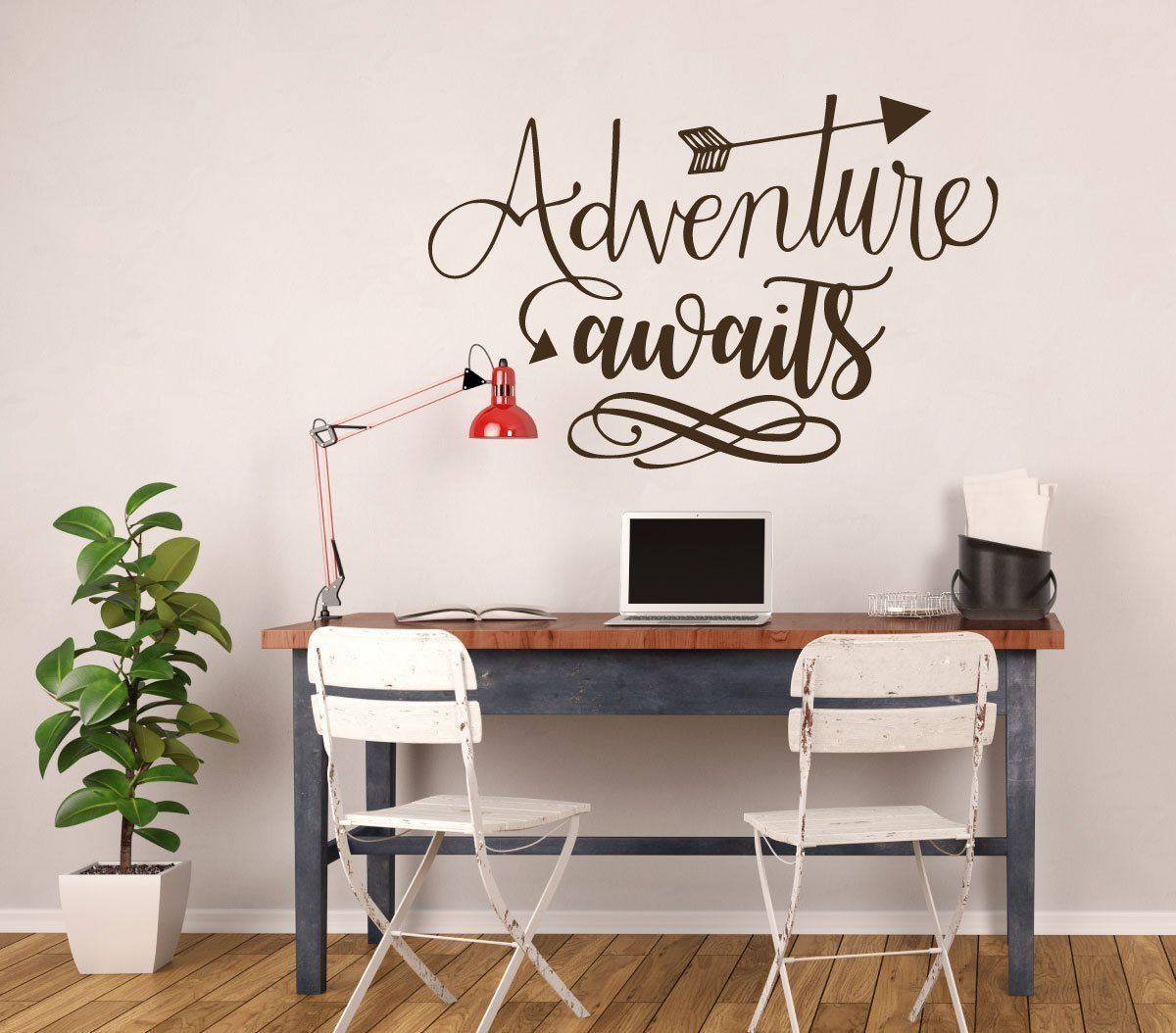 Adventure Wall Decal - Adventure Awaits Quote - Vinyl Sticker Decoration For the Home, Office, or Classroom