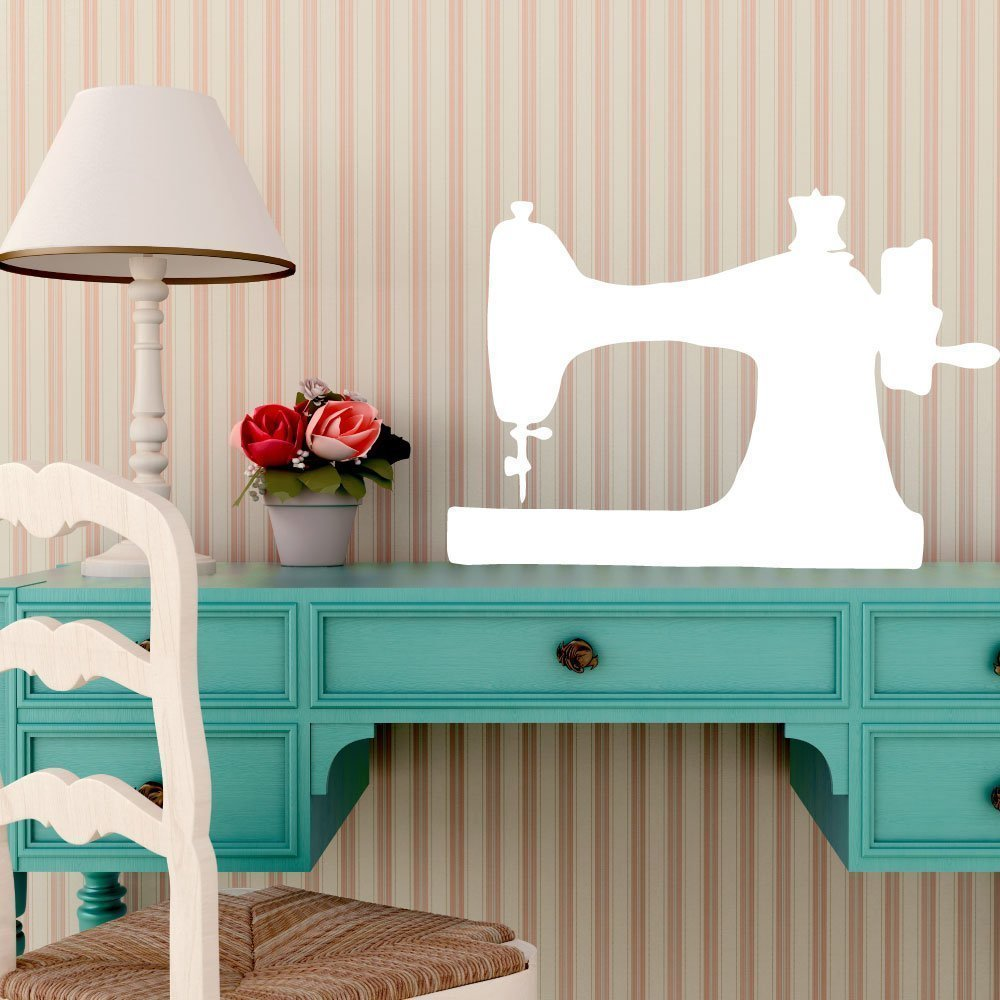 Sewing Machine Wall Decor - Clothes Designer Gift - Removable Vinyl Decal for Craftroom, Playroom or Children's Bedroom