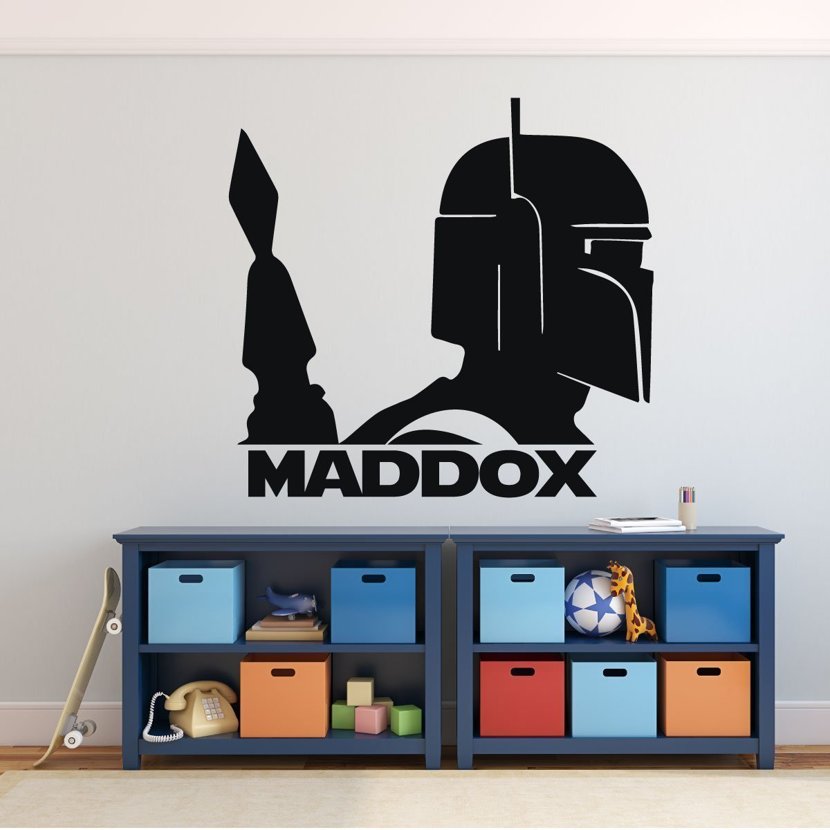Boba Fett Wall Decor - Star Wars Personalized Vinyl Decal For Boy's Bedroom, Gameroom, or Playroom Decor