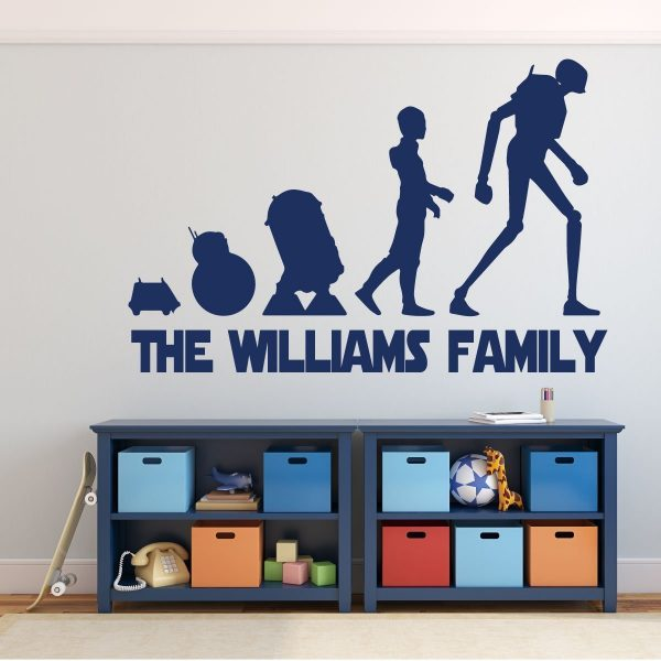 Star Wars Droids Wall Decor - Evolution Of Droids -Personalized Vinyl Decoration With MSE, BB8, R2-D2, C3-PO and K2-SO, Boy's Bedroom, Room