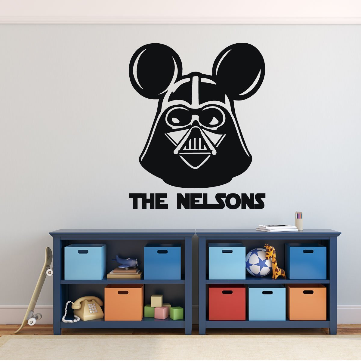 Darth Vader Mickey Mouse Personalized wall Decal , Sticker or Vinyl Decoration - Gift For Teacher or Classroom Wall Decor- Boy'sBedroom