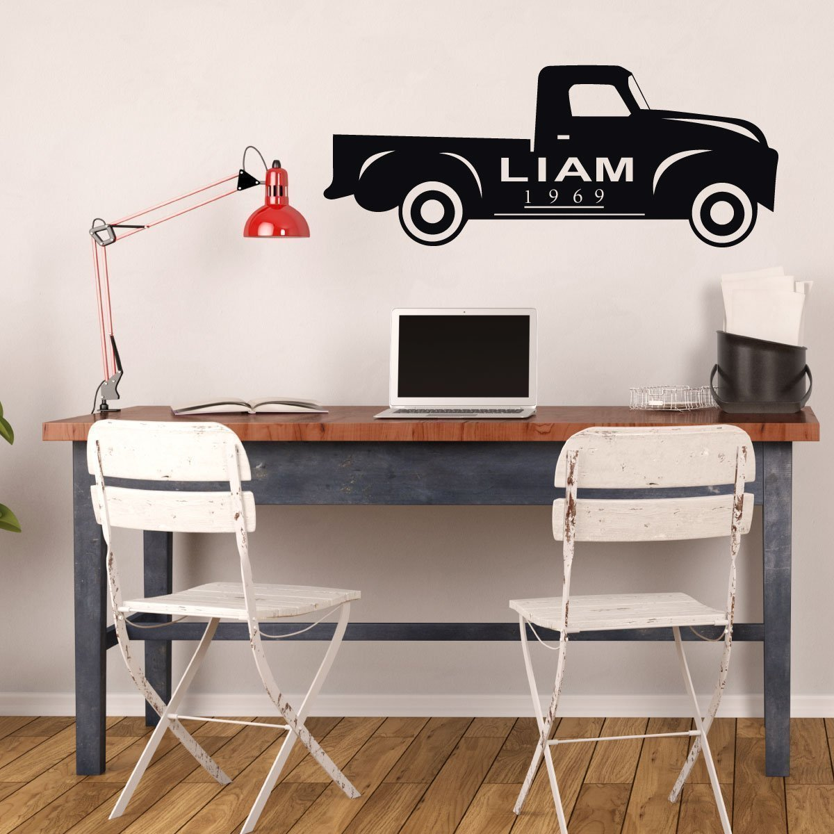 Chevy Truck Wall Decor - Vintage Wall Art - Personalized Truck - Removable Vinyl Decoration