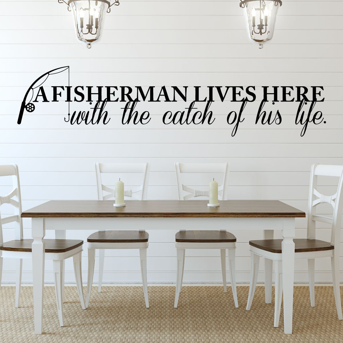 Fisherman Gift Decal - Vinyl Wall Decor - A Fisherman Lives Here With The Catch of His Life