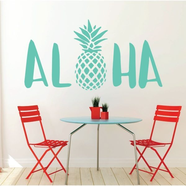 Aloha Wall Decal Sticker With Hawaiian Pineapple Design - Pineapple Decor - Vinyl Art Decoration