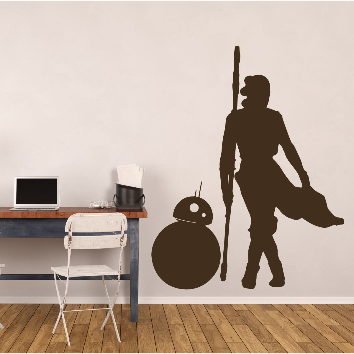 BB8 Decal With Rey - Star Wars Vinyl Decoration for Bedroom, Playroom, Study Area And Movie Room