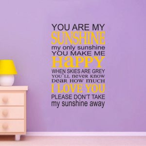 You Are My Sunshine Vinyl Wall Decal - Song Lyrics Home Decor