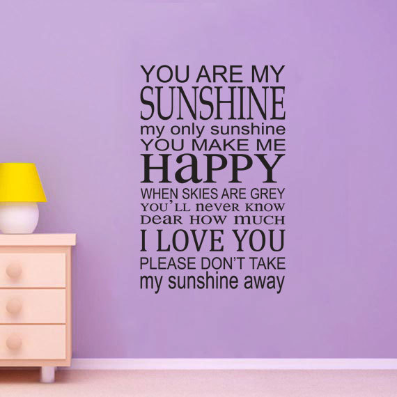 You Are My Sunshine Vinyl Wall Decal   Song Lyrics Home Decor