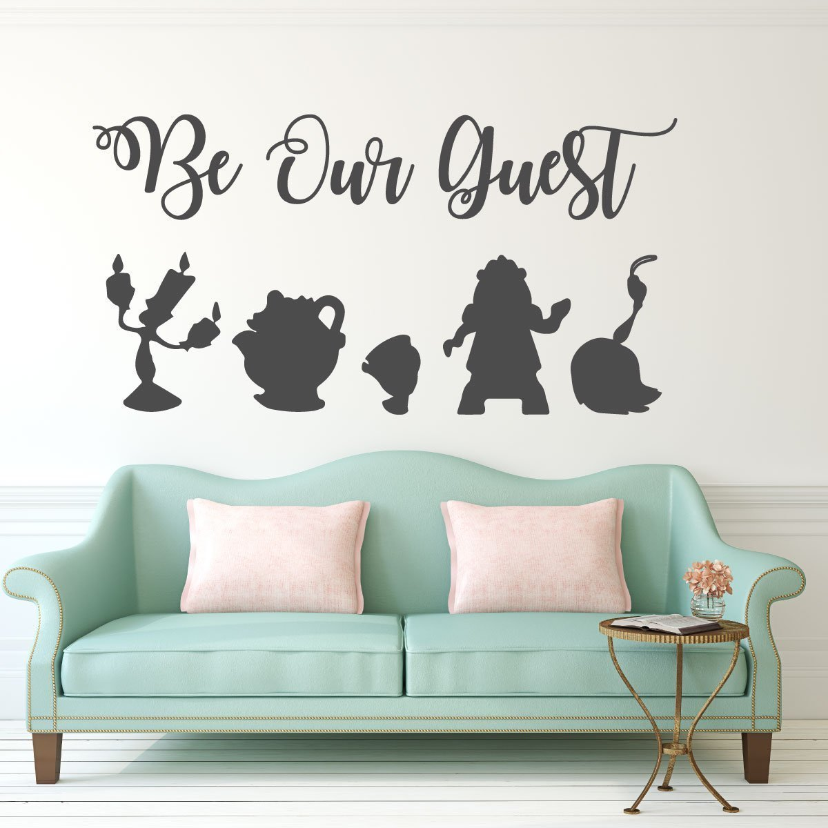 Be Our Guest Wall Decal - Beauty and the Beast - Lumiere, Mrs Potts, Chip, Cogsworth And Featherduster