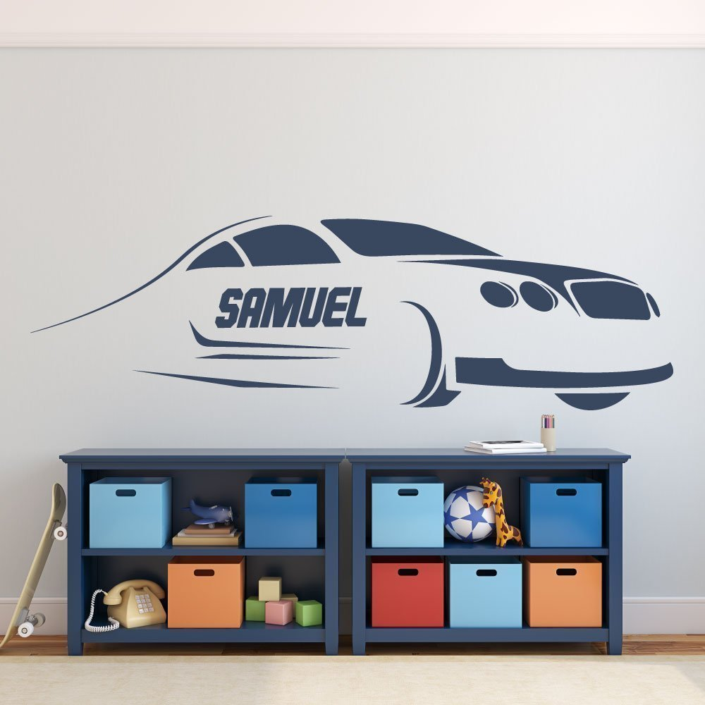Race Car Wall Decor - Kids Personalized Motor Sports Vinyl Wall Decal Sticker for Boy's Bedroom, Playroom, or Gameroom