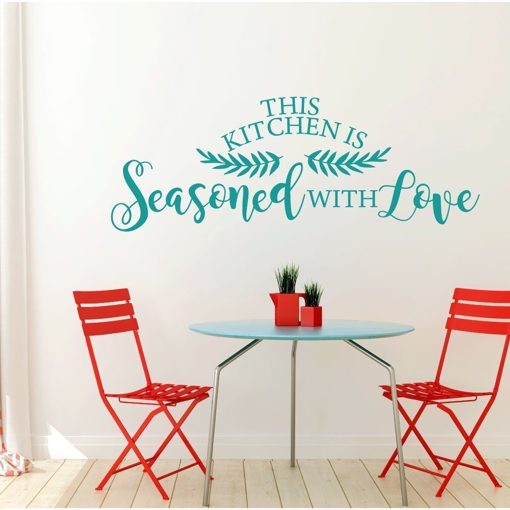 Kitchen Wall Sign - Seasoned With Love, Farmhouse Style Kitchen Decoration and Wall Decor