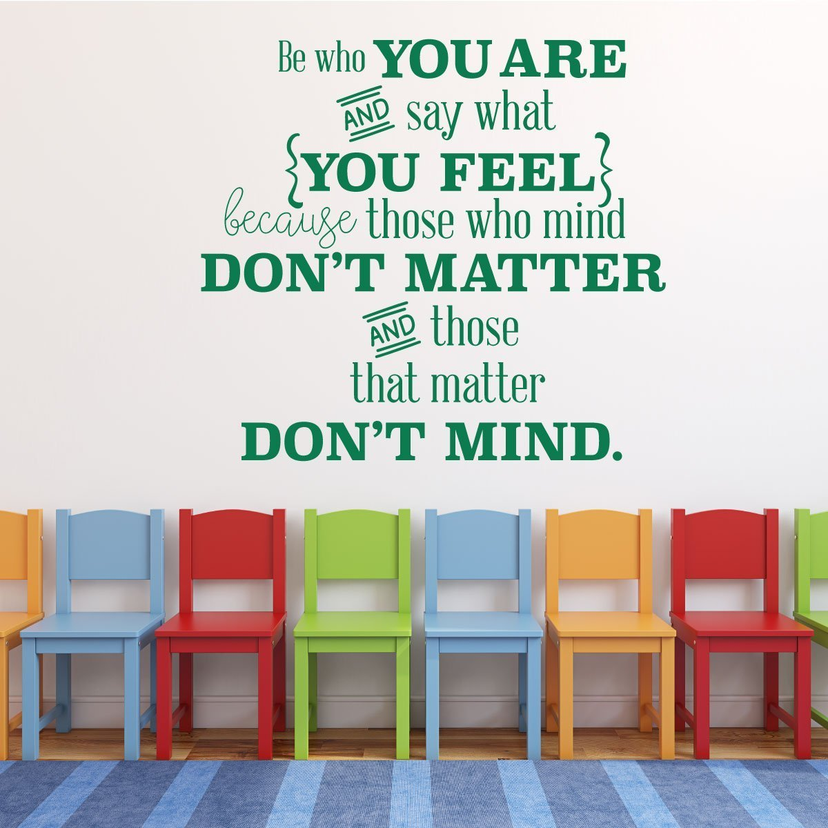 Classroom Decorations - Motivational Be Who You Are Quote, You Matter Vinyl Wall Decal Sign for Kids, Teachers, Playrooms, and Classrooms