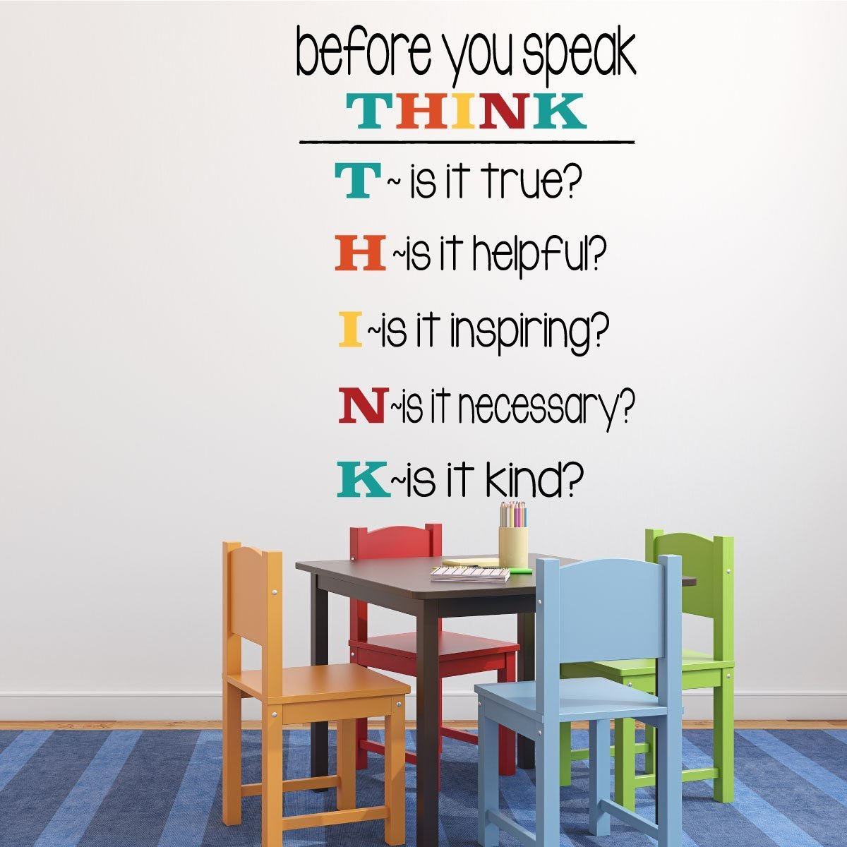 Classroom Decorations Vinyl Wall Decal or Sign for Teachers Classrooms used in Schools - Before You Speak, Think
