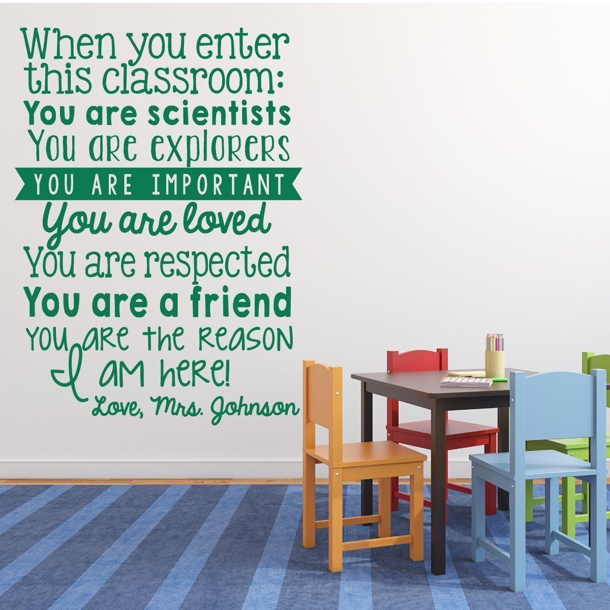 Classroom Decorations for Teachers - Personalized Vinyl Wall Lettering, Inspirational Quote Decal
