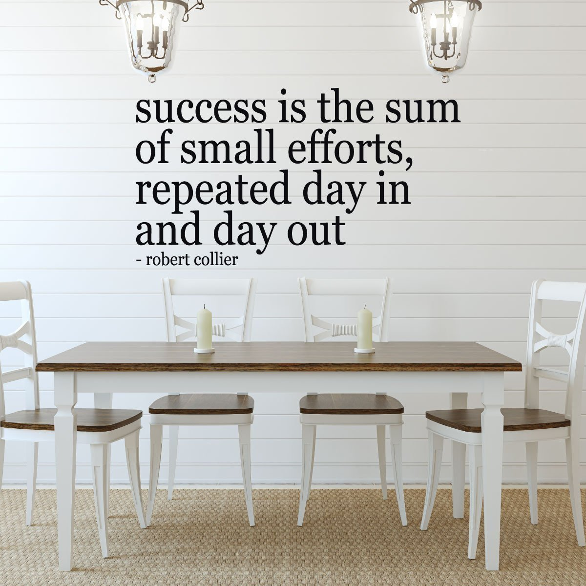 "Success Quote Wall Decal, Robert Collier Motivational Vinyl Saying: ""Success is the Sum of Small Efforts"" - Inspirational Design for Home"