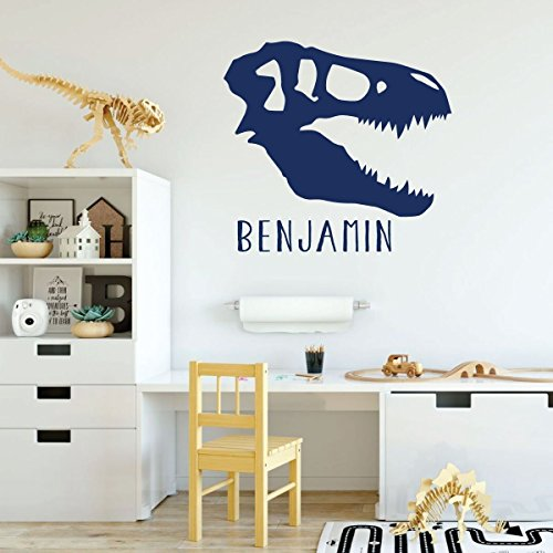 dark blue dinosaur skull vinyl wall decor