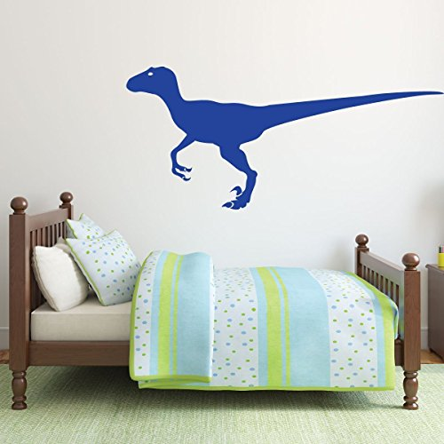 brilliant blue dinosaur velociraptor vinyl wall decor