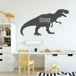 charcoal gray t rex dinsaur vinyl wall decal