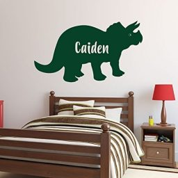 Dark Green Triceratops Dinosaur Personalized Vinyl Wall Decal