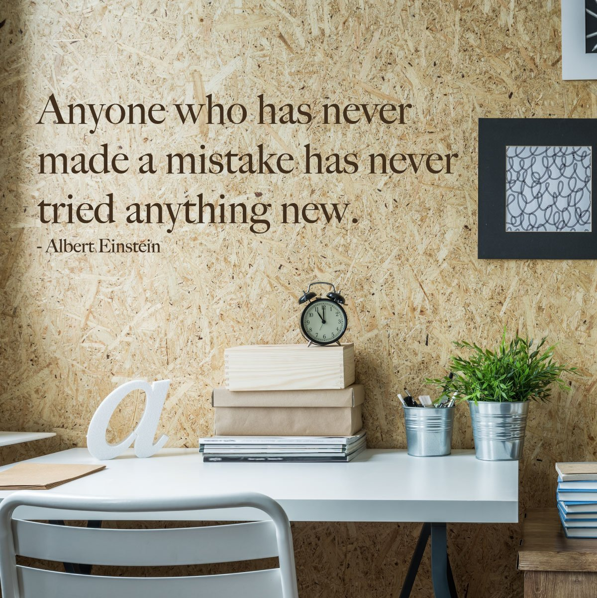 Albert Einstein Quote Vinyl Wall Decal Anyone Made Mistake Brown
