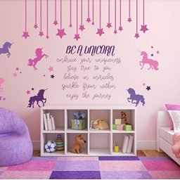 pink unicorn full wall custom vinyl design