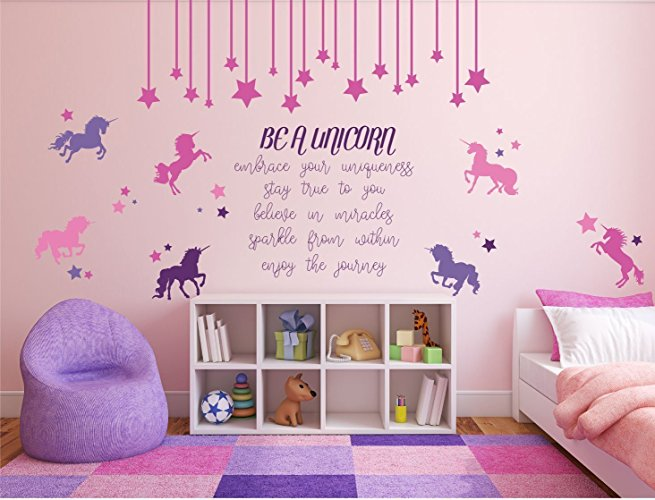 """Be A Unicorn"" Full Wall Mural With Quote, Unicorn, And Stars"