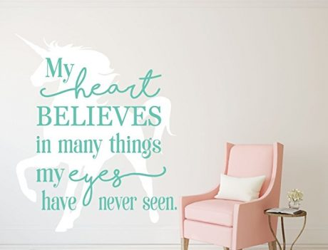 Unicorn Wall Decor My Heart Believes In Things Quote