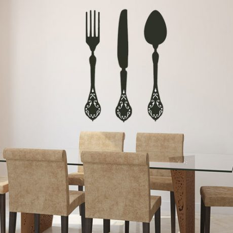 Fork Knife and Spoon Dining Room Decor Vinyl Decals