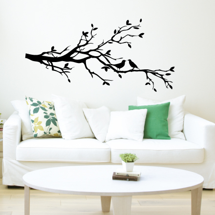 Two Love Birds on a Tree Branch Vinyl Wall Design